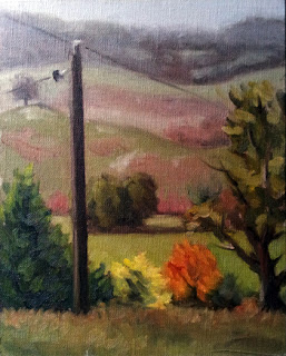Oil painting of an electricity pole on a hillside with trees and rolling hills in the distance.