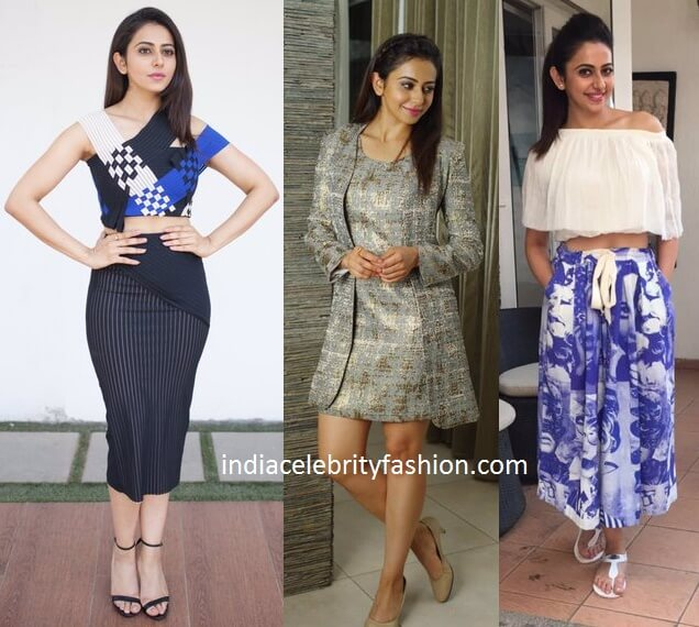 Rakul Preet Singh outfits for Sarrainodu Promotions