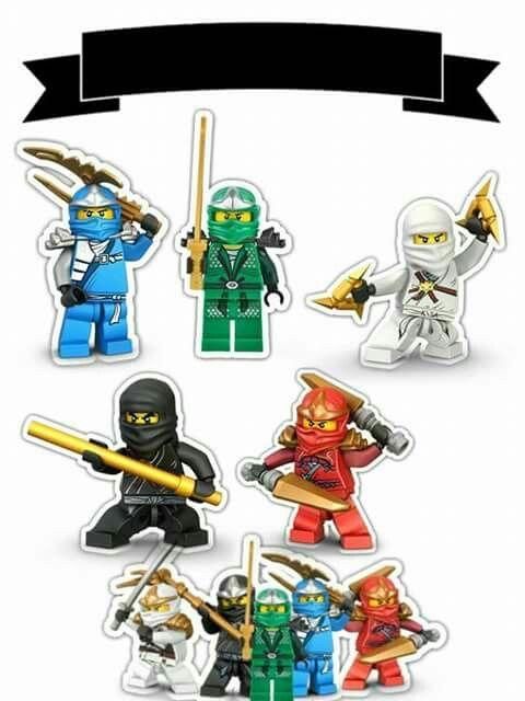 Ninjago: Toppers para Tartas, Tortas, Pasteles, Bizcochos o Cakes para Imprimir Gratis.