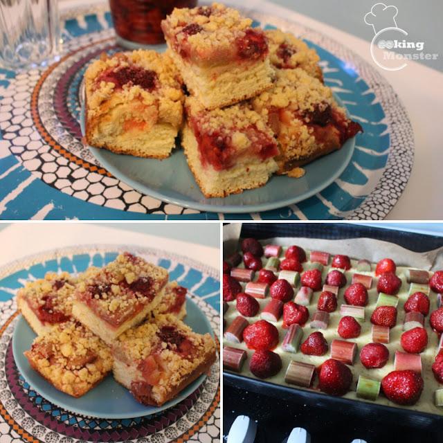 Ciasto drożdżowe z truskawkami, rabarbarem i kruszonką