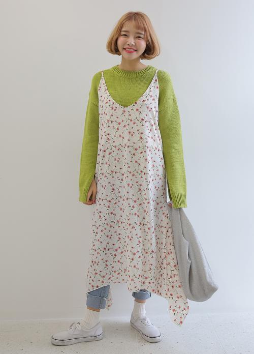Low Neck Floral Cami Dress