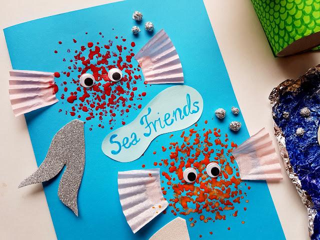 ocean - syrenka z rolki po papierze toaletowym - koniki morskie z papierowych talerzyków - summer children crafts - diy - prace plastyczne - wakacje z dzieckiem - kreatywnie z dzieckiem