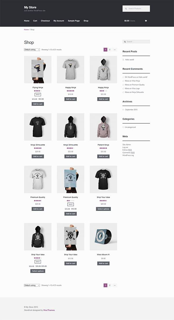 shop page with imported products