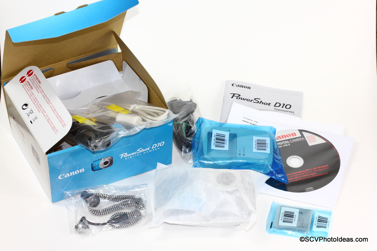 Canon PowerShot D10 Camera Box contents