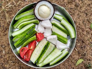 Ridge gourd, Coconut sprouts, Coconut, Tomato