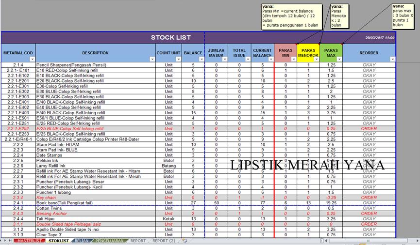 Lipstik Merah Yana Aku Susunatur Rumah Beg Makeup Excel Jew Guna Untuk Rekod Kuar Masuk Barang