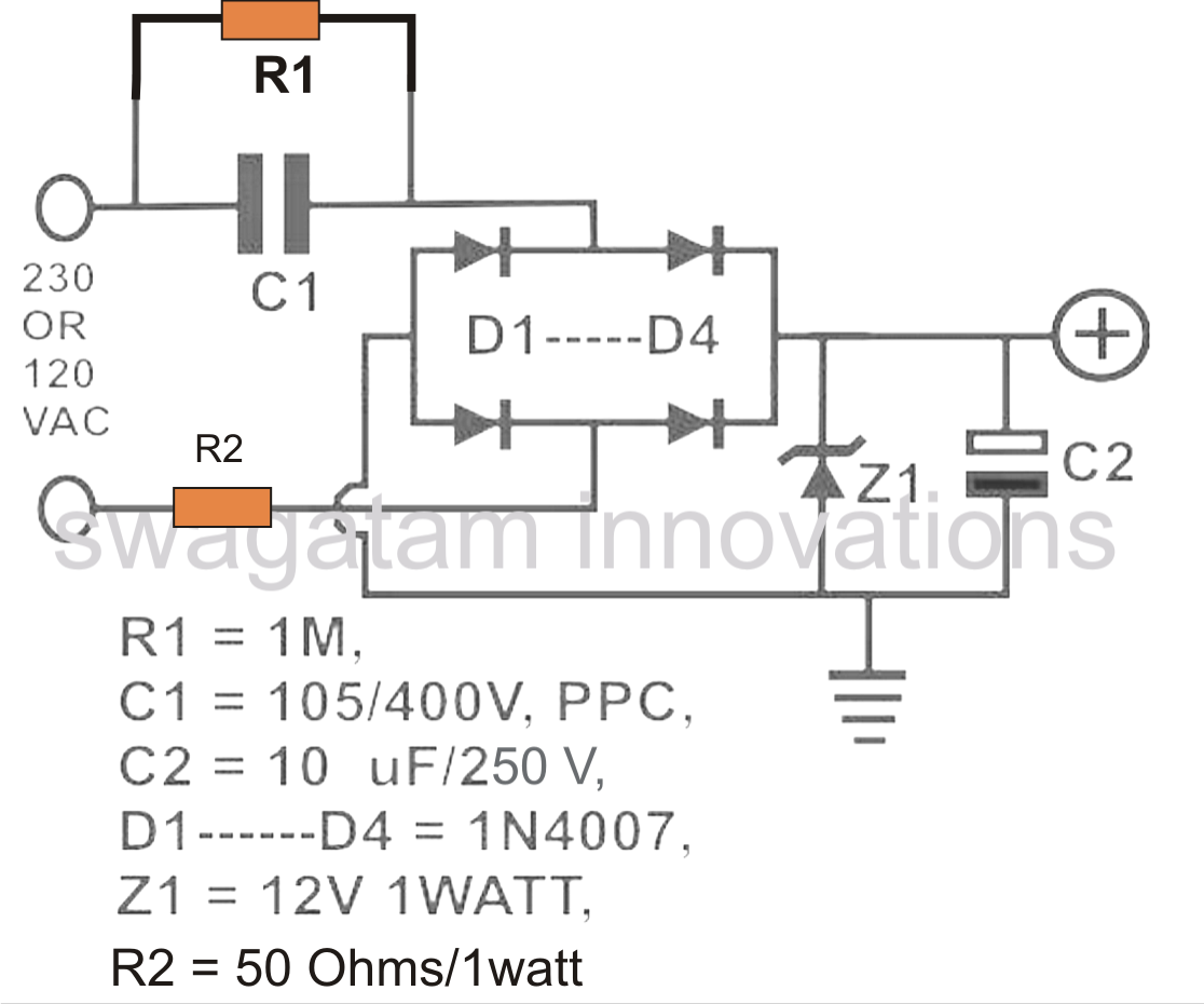 Battery Power Supply Circuit : Transformerless v battery charger circuit