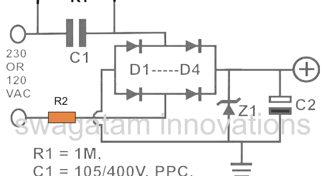 Simple Transformerless Power Supply    Circuit     Electronic