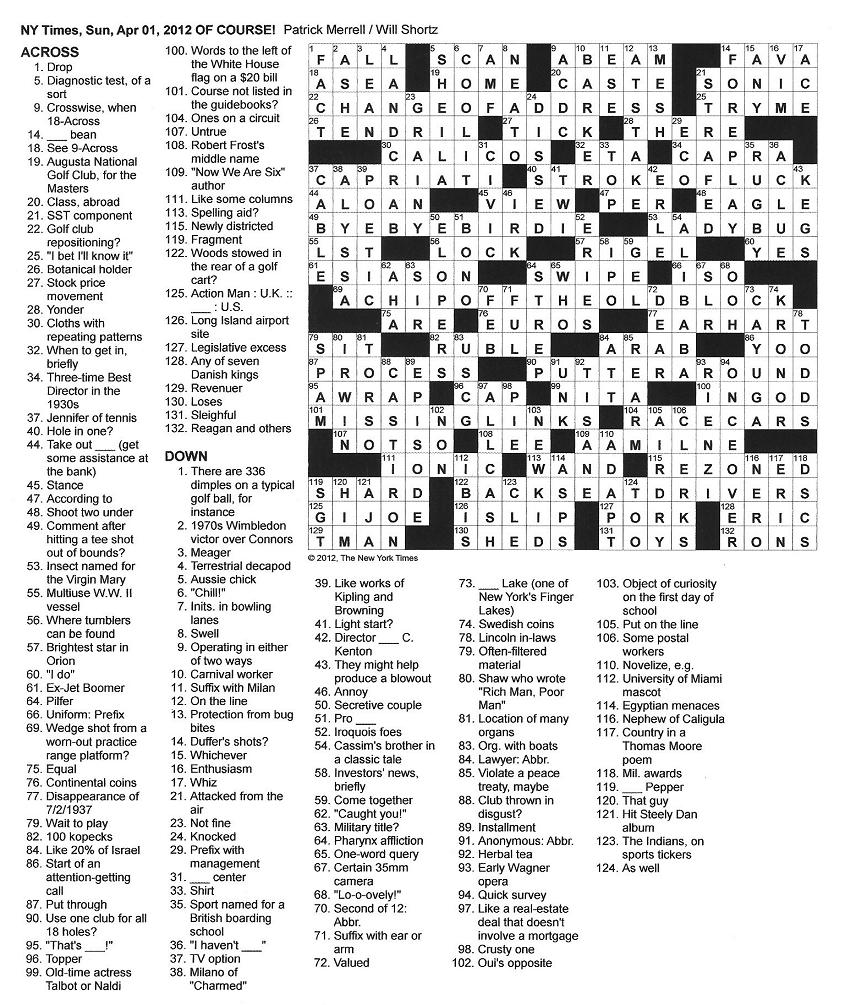 The New York Times Crossword in Gothic: March 2012
