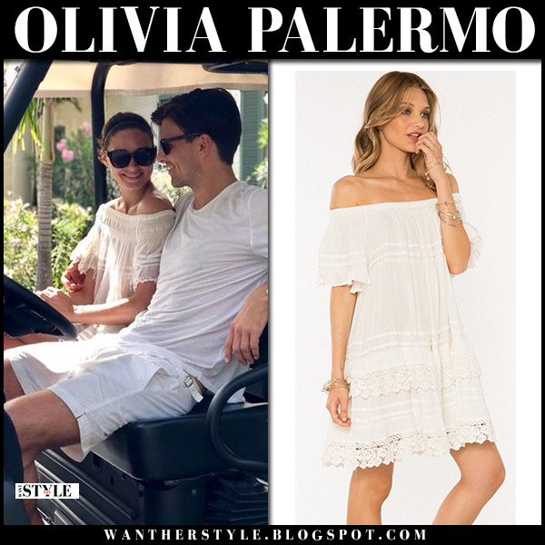 Olivia Palermo in white lace off shoulder muchet et muchette summer dress at Mustique Island summer style august 4