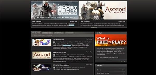 """الموقع  Steam's """"Free to Play"""""""