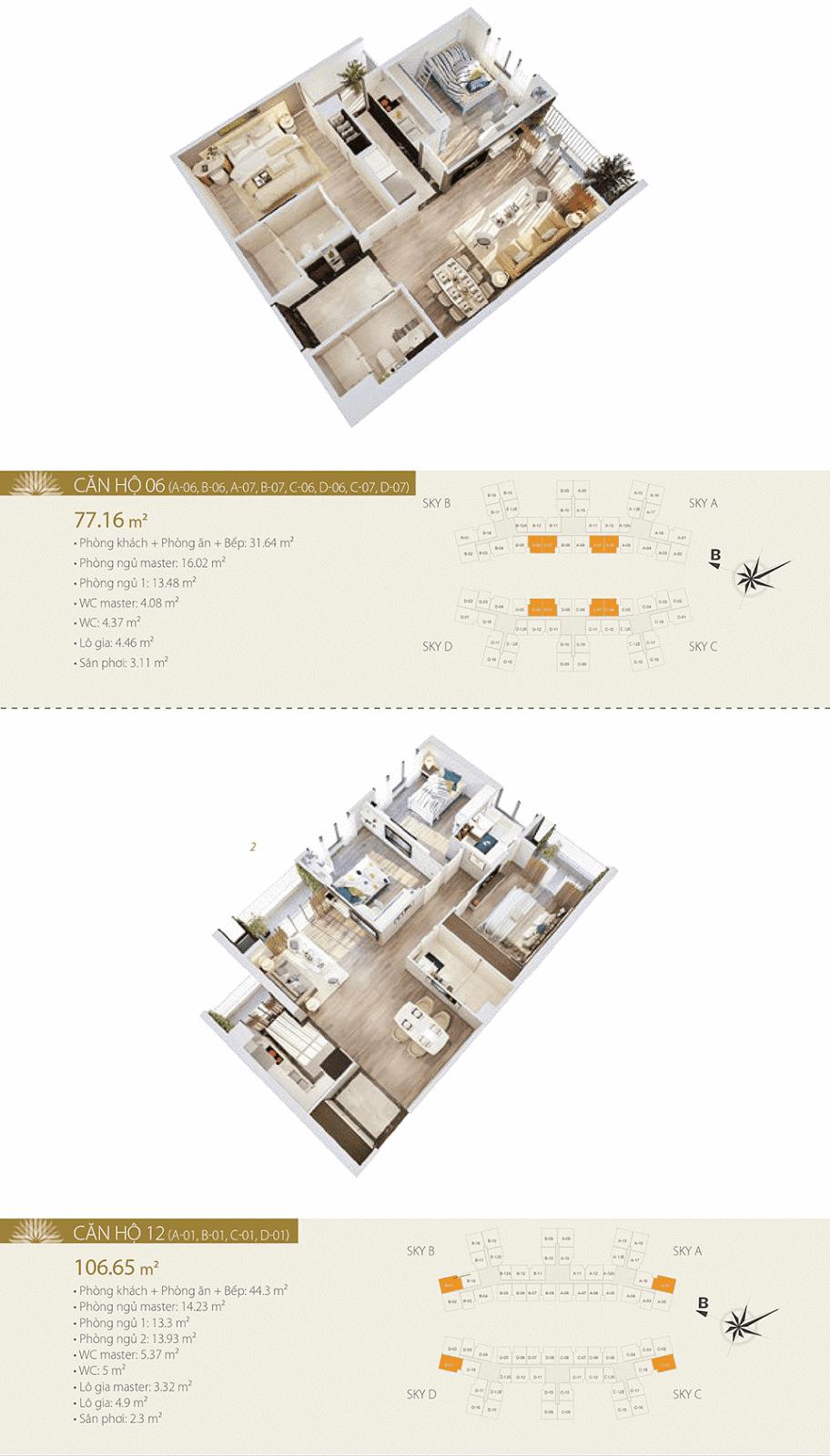 Mặt bằng chi tiết căn hộ 06 và 12 - Imperia Sky Garden
