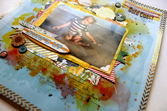 """ gold coast' layout by bernii miller using the Beach Therapy collection by BoBunny."