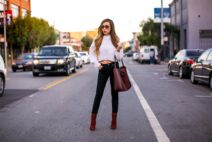 shein White Drop Shoulder Lantern Sleeve Crop Sweater, cropped and oversized sweater, sole society Veronica Bootie, sole society PRIMM vegan bucket bag with tie, burgundy boots, burgundy bag, 7fam jeans, 7fam baire denim, swarovski amazing sunglasses, fall essential