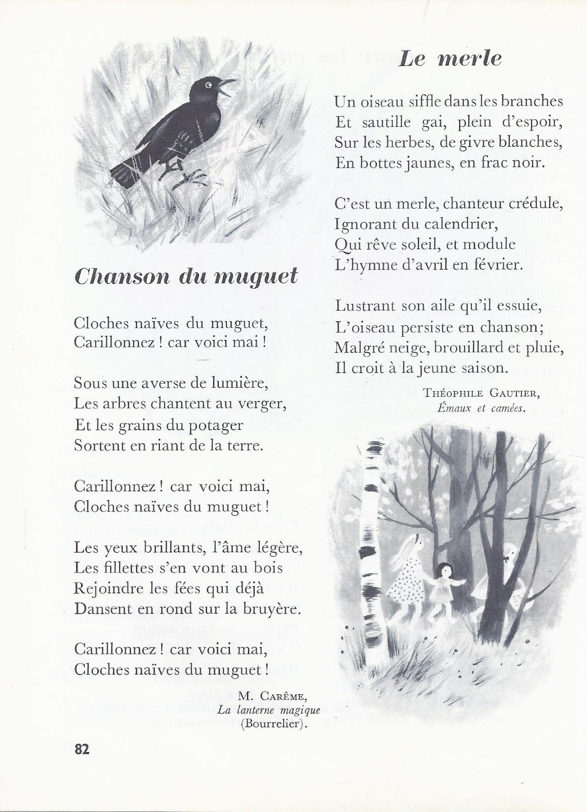 école : références: Chanson du muguet (Maurice Carême) et ...