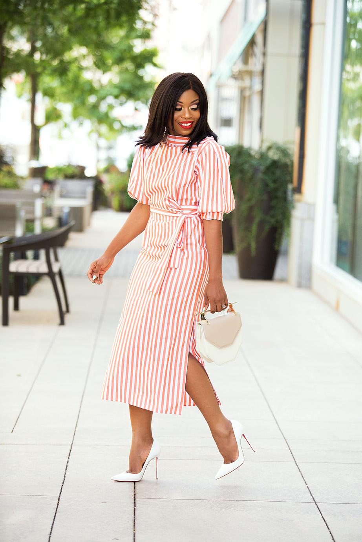 striped midi dress, www.jadore-fashion.com