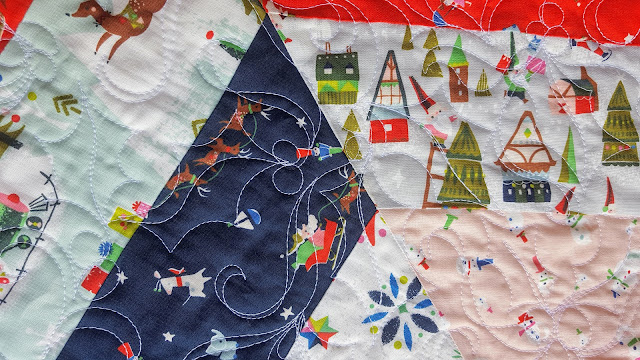 Quilting detail Christmas tree skirt Way Up North Fabric Riley Blake