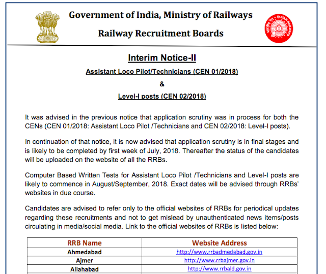 RRB Railway ALP - Technician 2018 Exam will be Held in August / September 2018 (Official Notice)