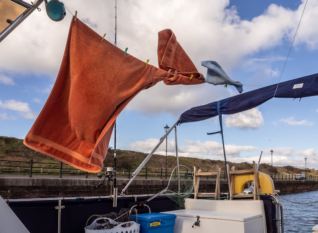 Photo of towels being blown around in the wind on Ravensdale's aft deck today (Friday)