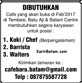 Lowongan Kerja Barista, Waiters, dan Koki Januari 2017