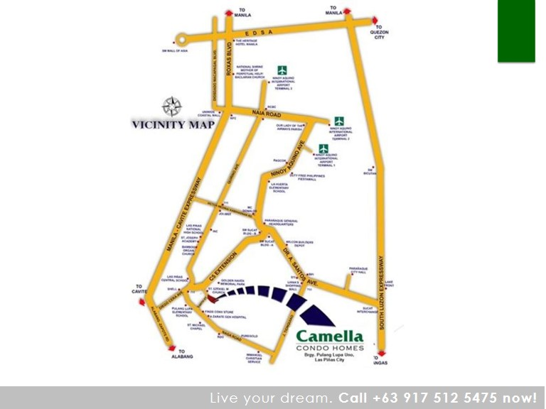 Vicinity Map Location One (1) Bedroom 34 Sqm - Camella Condo Homes Las Pinas | Camella Condominium for Sale Las Pinas City