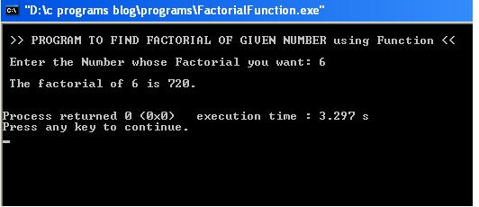 write a c program to find factorial of a given number using function