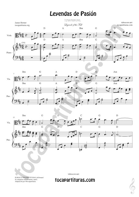 1 Leyendas de Pasión Partitura de Viola Legends of the Fall Sheet Music for Viola