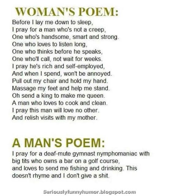 Woman's poem versus a man's poem - funny