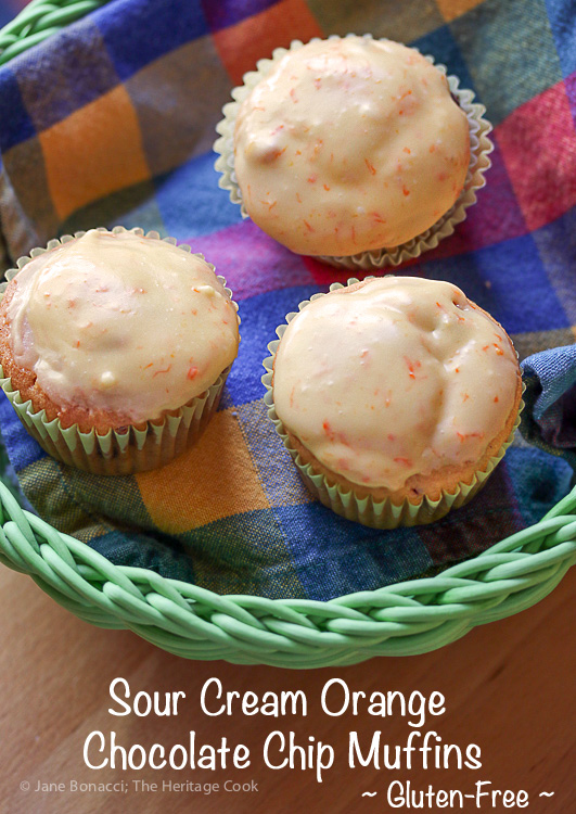 Featured Recipe | Sour Cream Orange Chocolate Chip Muffins from The Heritage Cook #SecretRecipeClub #recipe #muffins #chocolate #glutenfree #orange