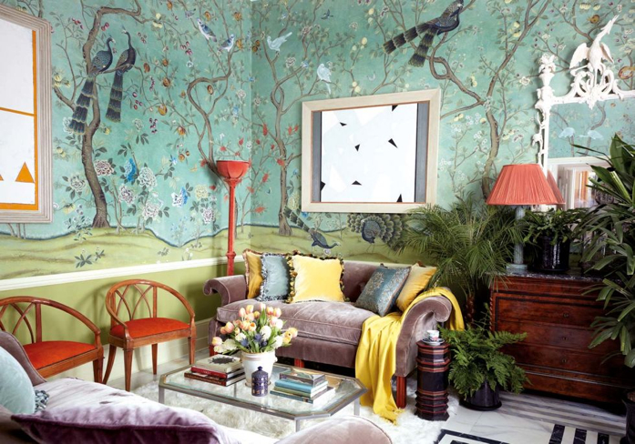Bold and Beautiful Living Room features St. Laurent paper from De Gournay.