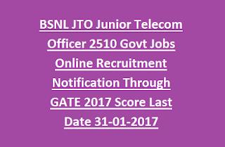 BSNL JTO Junior Telecom Officer 2510 Govt Jobs Online Recruitment Notification Through GATE 2017 Score Last Date 31-01-2017