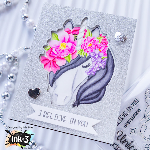 Magical Unicorn No Line Coloring Encouragement Card for Ink On 3 by ilovedoingallthingscrafty.com