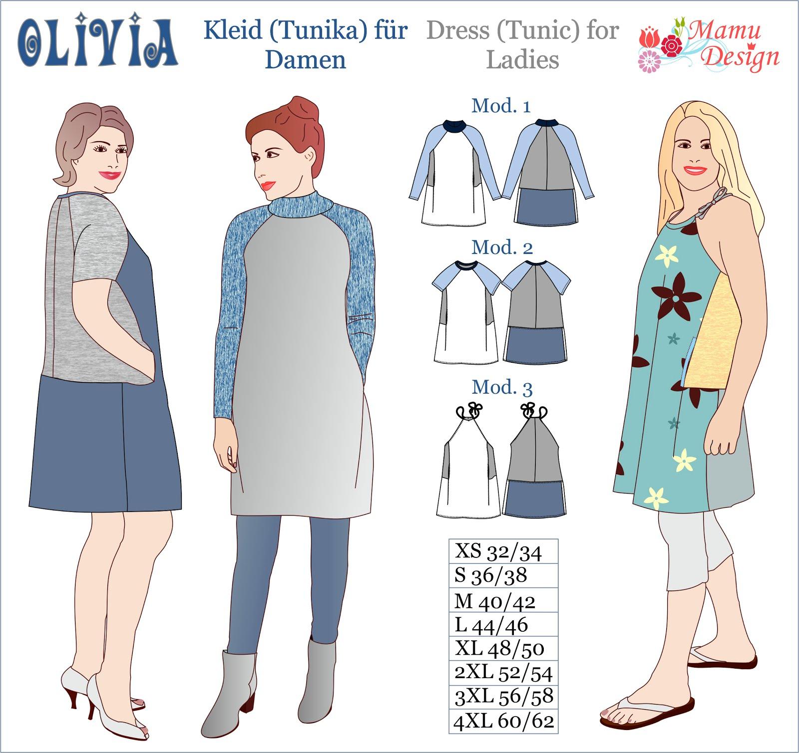 Mamu Design: ELIANA Schnittmuster für Tunika (Bluse) für Damen