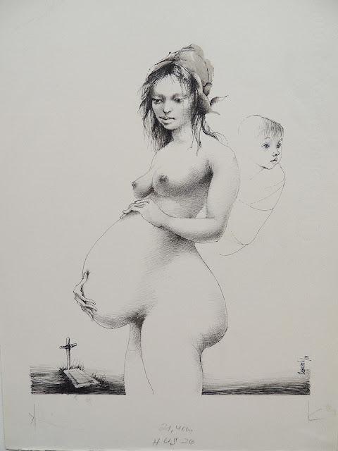 Glauco Capozzoli dibujo desnudo maternidad
