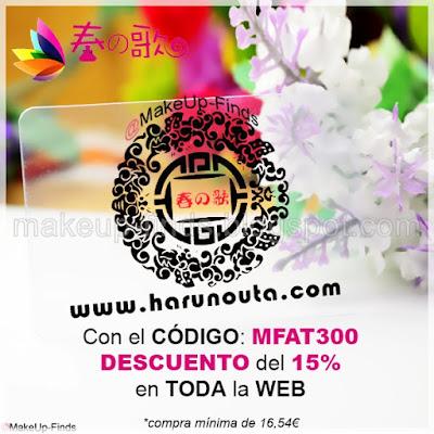 MakeUp-Finds-CON-EL-CÓDIGO-MFAT300-Descuento del 15% en Harunouta.com