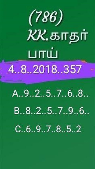 kerala lottery abc all board guessing karunya KR-357 on 04-08-2018 by KK