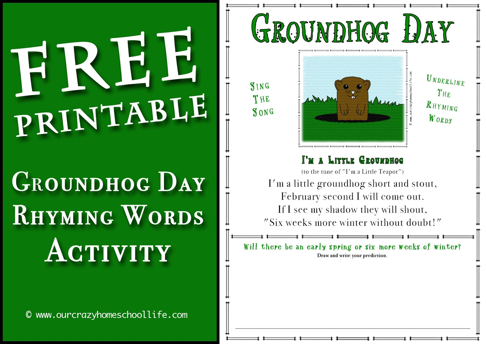 Free Groundhog Day Rhyming Words Activity