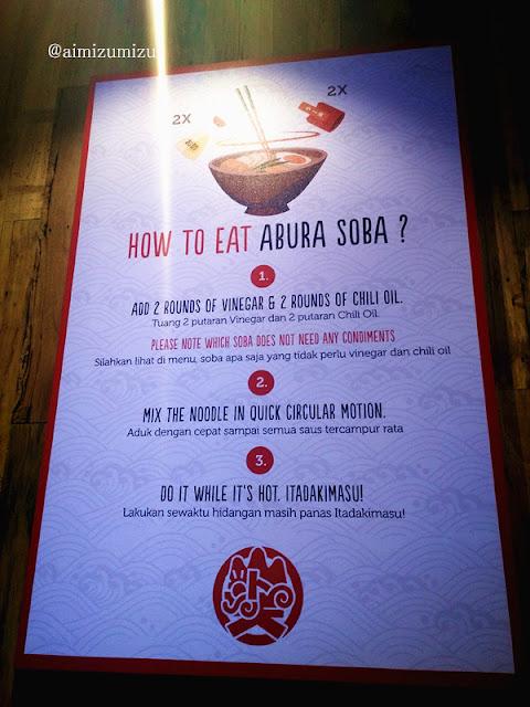 Cara makan Yamatoten Abura Soba Kota Casablanka