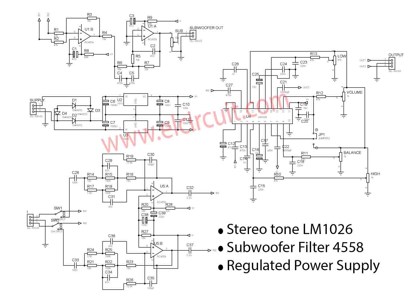 Stereo Tone Control Circuit Using Ic Op Amp Tl084 T Radio Fm Receiver Diagram Tea5710 Electronic Design 21 Hifi Preamplifier Lm1036 Subwoofer Filter 4558 In The Above Scheme For Its