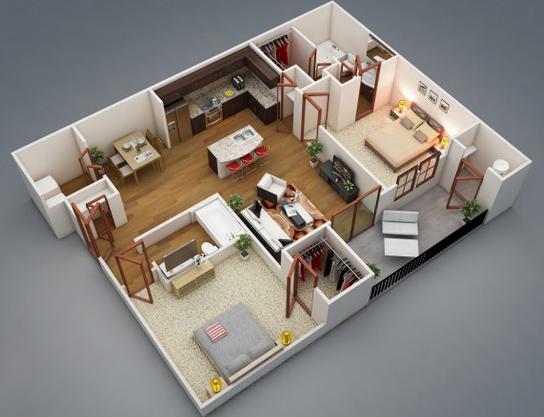 Desain Denah Rumah Minimalis 2 Kamar Terbaru 3d Gambar