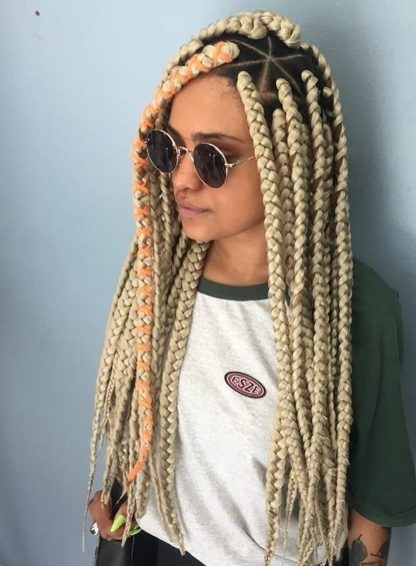 Blonde Fulani box braids are protective braiding hairstyles characterized by owning a squ ✘ 22 Amazing Fulani Box Braids styles Ponytails That color blonde