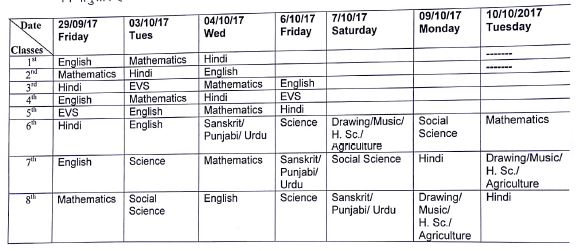 image : Revised Half Yearly Date Sheet Sept. 2017 for class 1-8 for Haryana Govt. Schools @ Haryana-Education-News.com