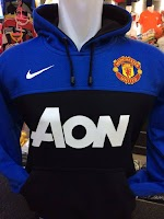 Jual Jaket Hoodie Manchester United AON Hitam Biru Nike