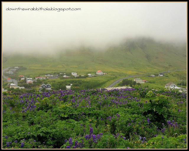coastal town of Vik Iceland bird's eye view