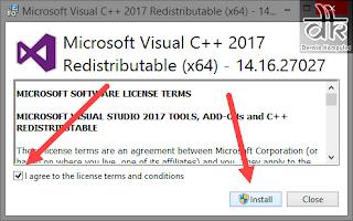 cara install visaul c runtime library