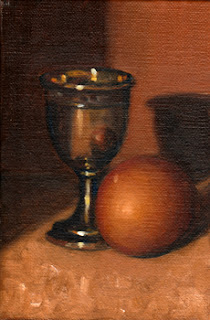 Oil painting of a decorative silver-plated egg cup next to an egg.