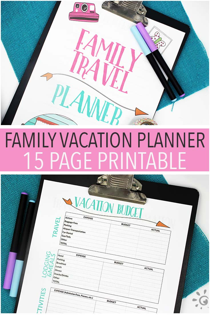 Ready for a family vacation? Get organized with this family travel planner! Everything you need to plan a stress free family vacation including a vacation bucket list, activity planners, budget, checklists, packing lists, and more!