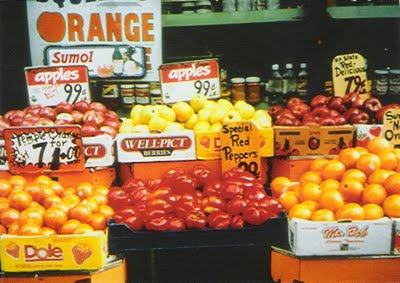 A photograph of a produce stand
