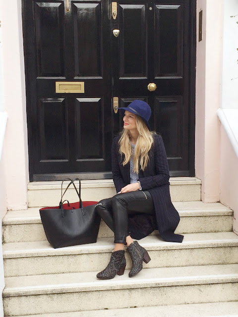five piece wardrobe, london street style, blue topshop hat, zara reversable tote, zara pinstripe coat, zara moto leather pants