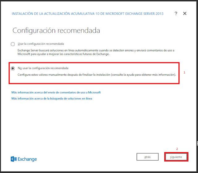 configurar los valores manualmente después de finalizar la instalación de Microsoft Exchange 2013